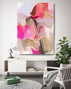 Feeling the Love. Pink Beige Abstract Canvas Art Print Extra