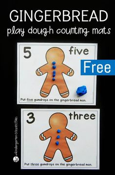 These gumdrop counting play dough mats are a fun Christmas math center for preschool and kindergarten. Work on counting, fine motor, and even addition! Gingerbread Man Kindergarten, Kindergarten Christmas Crafts, Gingerbread Man Crafts, Gingerbread Man Activities, Christmas Math, Christmas Gingerbread, Kindergarten Activities, Gingerbread Cake, Christmas Projects
