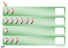 Simple visual activities based around a Christmas theme. Count the Santas or the snowflakes and write the number in the box. Covers numbers 1-10. Could be laminated and used with a dry wipe marker