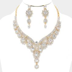"Floral Cascading Crystal Evening Necklace • Color : Clear, Gold  • Necklace : 15"" L + 3"" Ext. • Decor : 3.5"" Drop • Earrings : 2.5"" L • Lobster Claw Clasp Closure • Post Back Earrings • Floral Cascading Crystal Evening Necklace Jewelry Necklaces"