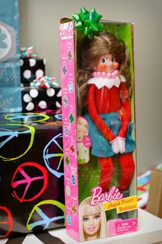 Elf on the Shelf - HA!  Paige isn't into Barbies yet, but this was too funny not to share.