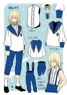 Is this a direction of a marine-styled or school boy-styled outfit? To check.  Focus: inner top with buttons. The blue overalls(find correct description)