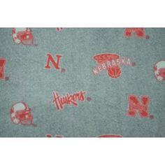 College University of Nebraska Cornhuskers Grey Print Fleece Fabric By the Yard