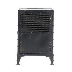 Nachttisch im Industrial-Stil aus Metall, B 40cm, schwarz