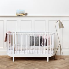 Wood Cot in White and Oak by Oliver Furniture  | Diddle Tinkers