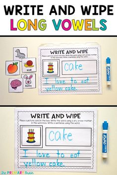 Long vowel write and wipe phonics instruction activity mats for first grade students. Great for workshop, small group, literacy centers, and whole group practice.
