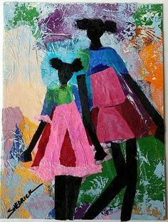 Shedrick, Deborah, (Pretty In Pink) African American Culture, African American Artist, American Artists, African Art, Afro Art, Black Artists, Love Art, Pretty In Pink, Art Decor