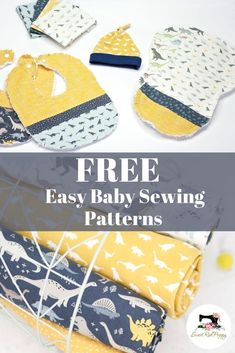 Three Free Easy to Sew Baby Patterns. Top Knot Baby Hat, Flannel Burp Cloth and Easy Bib Tutorial.