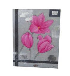 Tulipes roses sur fond gris : Peintures par kikry-art