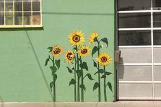 Sunflower Mural Door Murals, Bedroom Murals, Mural Wall Art, Mural Painting, Home Decor Wall Art, Paintings, Flower Mural, Murals Street Art, Sunflower Art