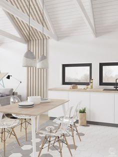 больше всего притягивают деревянные бруски с переходом со стены на потолок