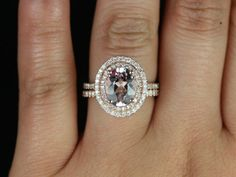 cara 10x8mm 14kt rose gold oval morganite and diamonds double halo wedding set other metals and stone options available - Oval Wedding Ring