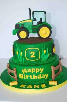 John Deere Theme cake in 2019 . Jul Fondant tractor in for cake topper. Tractor Birthday Cakes, Farm Birthday, 2nd Birthday Parties, Tractor Cakes, Birthday Ideas, Birthday Cake Kids Boys, John Deere Party, Farm Cake, Gateaux Cake
