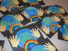kids spring art projects | Coffee filters and watercolor made this cool earth…