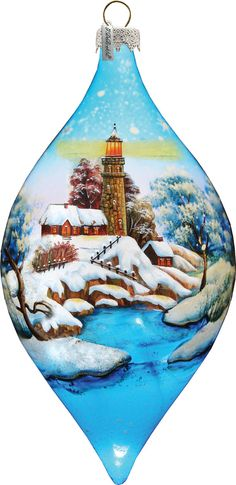LED LightHouse LIGHTED Ornament; Handcrafted Lighted Glass - Christmas Gallery for the Tree (74177P) by gdebrekhtgallery. Explore more products on http://gdebrekhtgallery.etsy.com