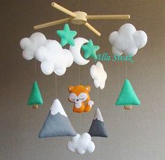 Fox Mobile, Baby mobile, Tribal Baby Mobile, Baby Boy Mobile, Forest Themed Nursery, Mountain & Fox, Woodland Baby Mobile, Baby Shower Gift