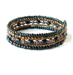 Stacked bead bracelets metallic beaded copper & by dalystudios