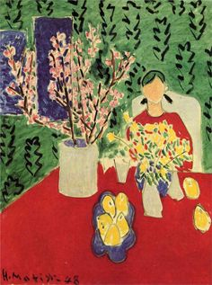 Plum Blossoms, Green Background, 1948, Matisse was a French artist, known for his use of colour and his fluid and original draughtsmanship. He was a draughtsman, printmaker, and sculptor, but is known primarily as a painter.