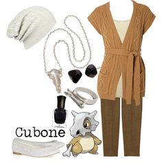 Cubone Created by shoelacekid Pokemon, earrings, necklace, ring, shoes, pants, shirt, outfit, video games, nintendo, accessory, jewelry, idea/concept. Cartoon Outfits, Anime Outfits, Cool Outfits, Pokemon Outfits, Fashion Outfits, Anime Inspired Outfits, Character Inspired Outfits, Themed Outfits, Casual Cosplay