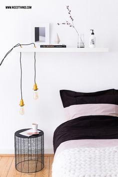 DIY Lampe selber machen mit Textilkabel und Vintage Glühbirne