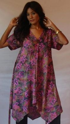 PINK DRESS MINI TUNIC TOP BUTTON BATIK TIES A-LINE « Dress Adds Everyday