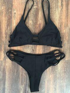 aad89a7a94c9a8 Spaghetti Straps Elastic Solid Color Bikini Set