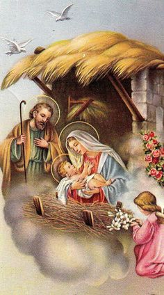 The Holy Family - Beautiful Nativity Scene Christmas Nativity Scene, Christmas Scenes, Christmas Past, Christmas Pictures, Christmas Greetings, Christmas Holidays, Religious Pictures, Jesus Pictures, Religious Art