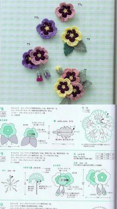Crochet Bouquet, Crochet Brooch, Crochet Leaves, Knitted Flowers, Crochet Diagram, Crochet Motif, Crochet Bunny, Cute Crochet, Crochet Doll Tutorial