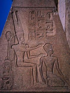 Detail on Fallen Obelisk of Hatshepsut at Karnak Temple in Ancient Thebes, Luxor, Egypt