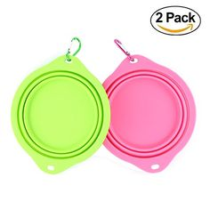wangstar Large Collapsible Dog Bowl for Dog Food Food Grade Silicone BPA Free FDA Approved Foldable Expandable Pet Feeder Cup Portable Dog Water Bowl with Free Carabiners BluePink *** Read more at the image link. (This is an affiliate link) #DogTravelBowls