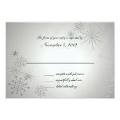 Snowflake Gems Silver Wedding Response Personalized Invitations