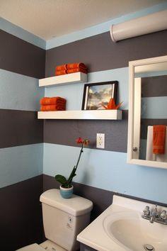 1000 images about bathroom colors on pinterest orange for Blue and orange bathroom