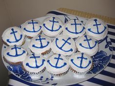 #nautical cupcakes with anchors!....From my Nautical Bridal Shower courtesy of the one and only AOB!