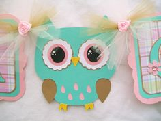 Owl baby shower banner, turquoise, pink, plaid, its a girl. $30.00, via Etsy.