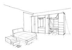 """Product Sketches for iloom advertisement The concept of this advertisement is """"Propose"""". The iloom is a Fursys group home furniture brand from South Korea.-Advertisment in Korean- Designed by iloomSketched by Sihyeong Ryu당신의 생각을 생각합니다당신은 옷장& Interior Architecture Drawing, Drawing Interior, Interior Design Sketches, Modular Furniture, Metal Furniture, Furniture Design, Furniture Sketches, One Point Perspective Room, Best Interior Paint"""