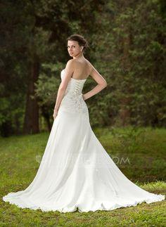 Trumpet/Mermaid Sweetheart Chapel Train Chiffon Satin Wedding Dress With Ruffle Beading Appliques Lace (002011658) - JJsHouse