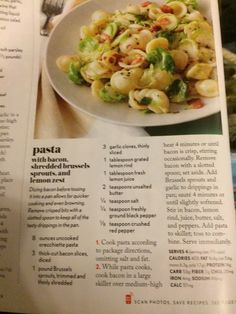 Pasta with bacon and Brussels sprouts