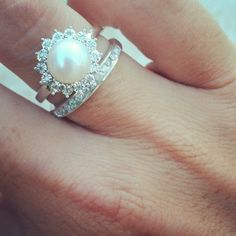 diamonds and pearls; thin band #engagement #ring