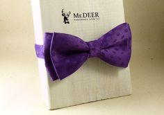 Dark Purple Silky Violet Bow Tie - Ready Tied Bow Tie - Adult Bow Tie - Mens bowtie - Groomsman, Rustic, Boho Wedding Bow Tie  - Mr.DEER by MrDEERbowtie on Etsy