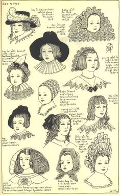 """Seventeenth Century: Chapter plate """"Modes in Hats and Headdresses: A Survey of History"""" by R Turner Wilcox 17th Century Clothing, 17th Century Fashion, 18th Century, Historical Costume, Historical Clothing, Baroque Fashion, Vintage Fashion, Mode Renaissance, Fashion Dictionary"""