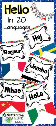 This International banner or bulletin board can be up in a snap!  Just print, cut and post.  It's really that simple!