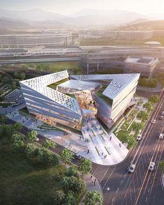 "- ""Complex Center by Junho Hong Architecture Concept Diagram, Public Architecture, Architecture Building Design, Cultural Architecture, Futuristic Architecture, Contemporary Architecture, Hospital Design, Küchen Design, Graphic Design"