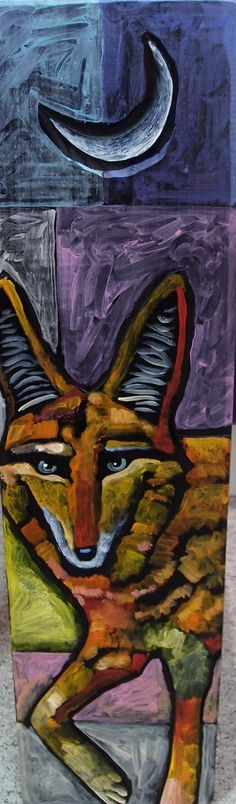 Coyote Acrylic On Board Navajo Artist Leland Holiday Featured At Spirits In The Wind Gallery