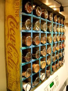 Old coke soda wooden crate repurposed into kitchen spice shelf storage; upcycle, recycle, salvage, diy, repurpose!  For ideas and goods shop at Estate ReSale & ReDesign, Bonita Springs, FL