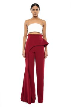 Andrea Iyamah Collection features pastel tones and structured silhouettes in various pieces. Bell Bottom Pants, Bell Bottoms, Swimsuit Tops, Bikini Tops, High Waisted Bikini Bottoms, Tall Women, Long Pants, Wide Leg Jeans, Ready To Wear
