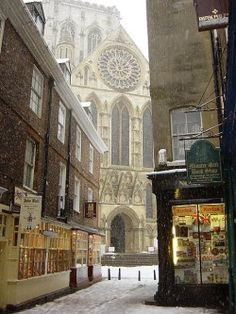 bornfortheroseandthepearl:  The Minster between two shops, York