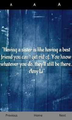 sister will always be there