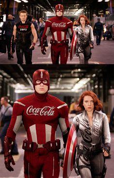 The Avengers - Sponsored by Coca-Cola. - The Avengers – Sponsored by Coca-Cola. Marvel Jokes, Marvel Dc Comics, Films Marvel, Funny Marvel Memes, Bd Comics, Avengers Memes, Marvel Characters, Avengers Outfits, Avengers Imagines