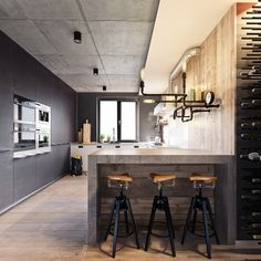 http://boomzer.com/3-dashing-industrial-marvelous-loft-inside/bike-seat-barstools-wooden-floors-mini-ceilings-spotlight-wall-lamp-black-kitchen-cabinetry-glass-window-kitchen-sink-beautiful-green-plants-indoor-lemon/