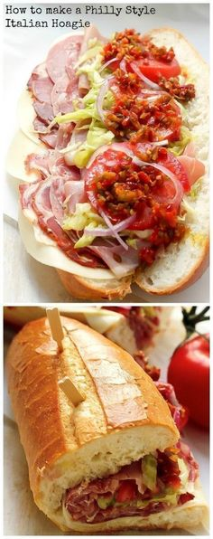 Best Philly Style Italian Hoagies The BEST Italian Hoagies - loaded with all the meats, cheeses, and veggies!The BEST Italian Hoagies - loaded with all the meats, cheeses, and veggies! I Love Food, Good Food, Yummy Food, Delicious Snacks, Tasty, Soup And Sandwich, Sandwich Ideas, Sandwich Bar, Sandwich Spread